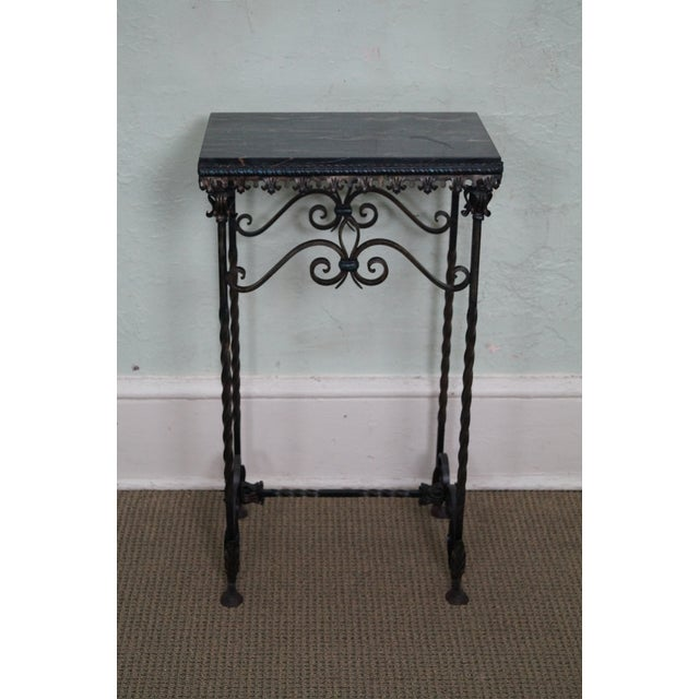 Antique Gothic Wrought Iron Marble Console Table - Image 2 of 10