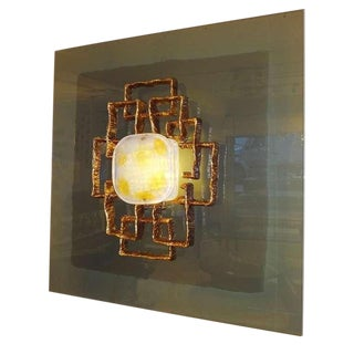 Large Lit Wall Sculpture by Angelo Brotto, Italy circa 1968