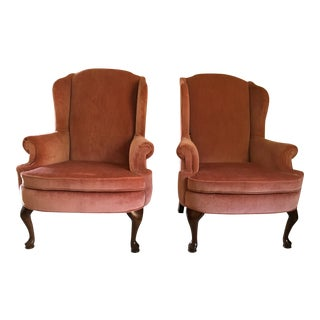 Broyhill Velvet Wingback Chairs - A Pair