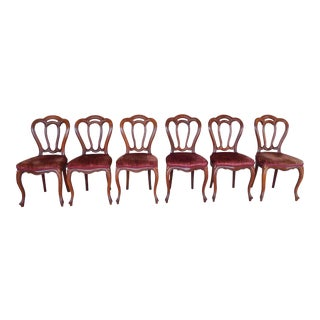 Antique Walnut French Victorian Chairs - Set of 6
