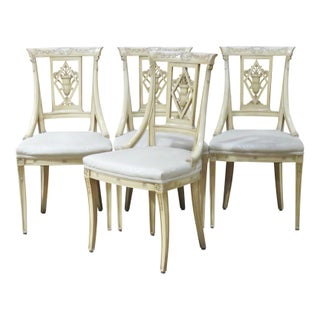 Directoire Style Cream Painted Side Chairs - Set of 4