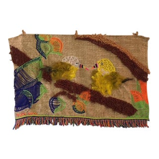 Mid Century Weave Knit Bird Tapestry Wall Hanging