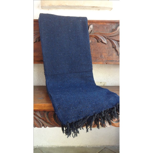 Mexican Boho Navy Yoga Beach Blanket - Image 5 of 5