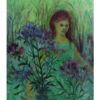 """Ruth Tears """"In the Garden"""" Oil Painting"""