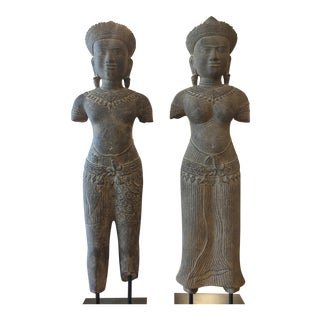 Male & Female Sandstone Sculptures From Thailand - A Pair