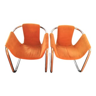 Mid-Century Modern Chrome Tubular Sling Chairs - Pair