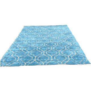 Hand Tufted Trellis Blue Rug - 8' X 10'