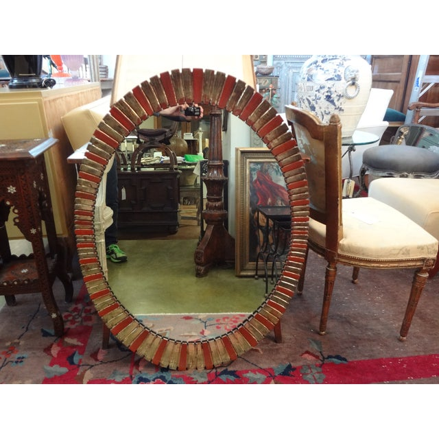 Hollywood Regency Painted Oval Mirror - Image 2 of 5
