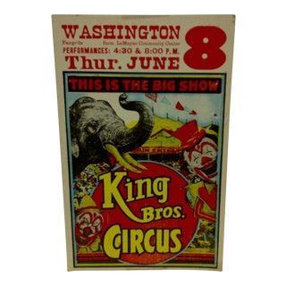 "Vintage Circus Poster ""King Bros. Circus"" 1960"