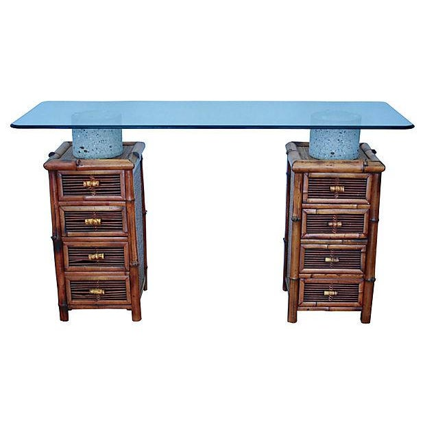 Bamboo, Glass & Concrete Console Table - Image 10 of 10