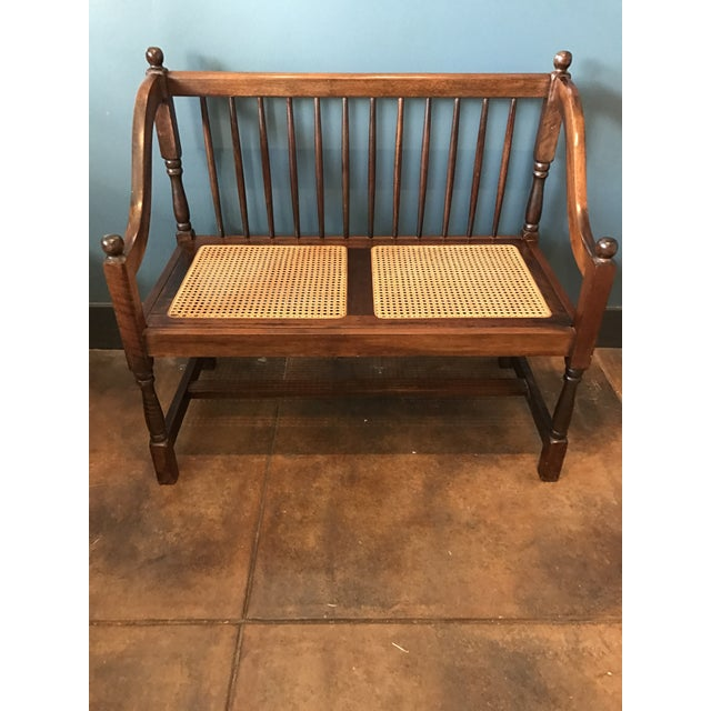 Traditional Wood & Cane Bench - Image 2 of 5