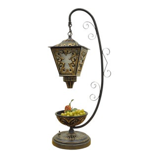 Decorator Art Nouveau Style Painted Metal Scrolling Lantern Form Table Lamp