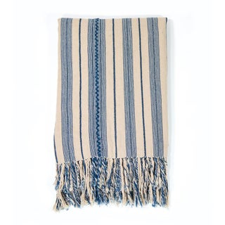 Indigo & Ecru Striped Blanket