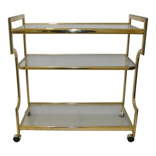 Vintage Brass Plate & Glass Three Tier Bar Cart c.1970s