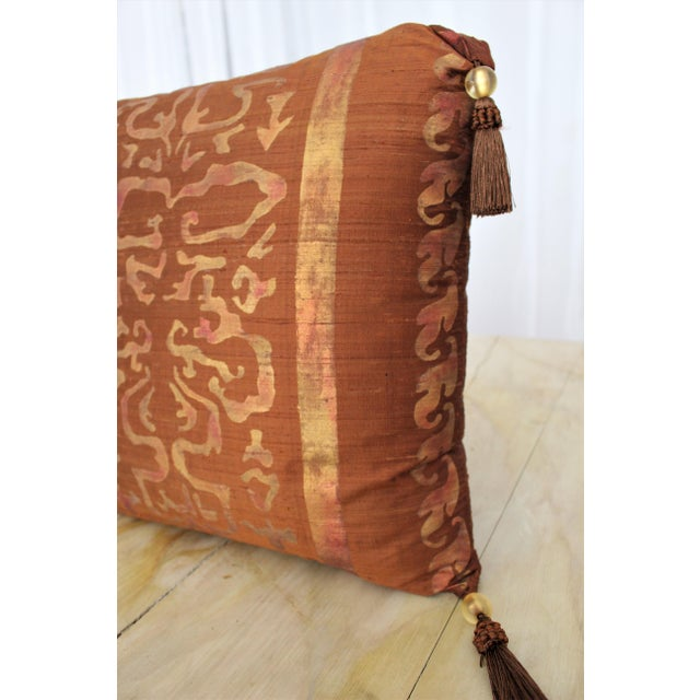 Isabelle H. Fortuny Style Burnished Russet Silk Tasselled Pillow - Image 3 of 8