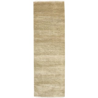 New Tonal Stripe Hand Knotted Runner - 3' x 9'2""
