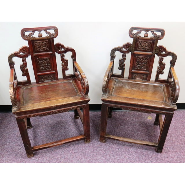 Pair of Chinese Hardwood Armchairs - Image 2 of 9