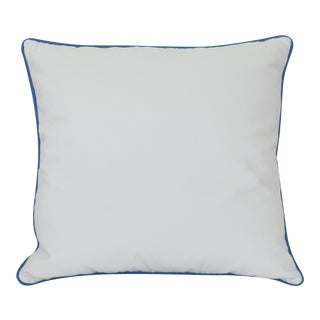White Pillow With Blue Contrasting Welt