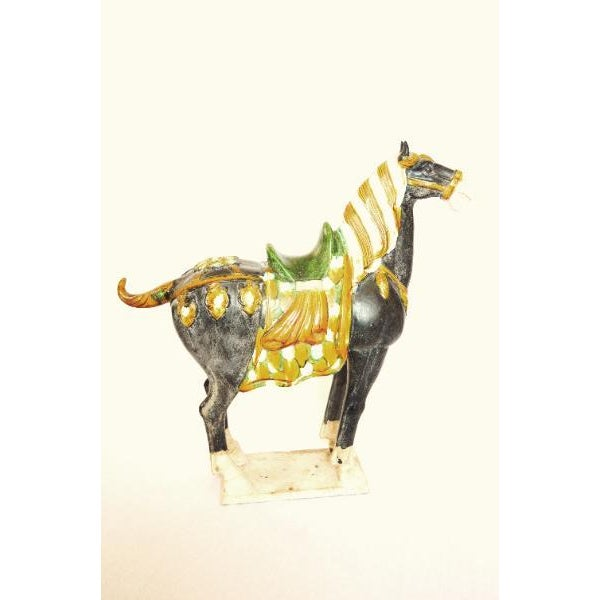 Tang Dynasty Style Ceramic War Horse Statue - Image 2 of 4