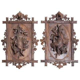Pair of French Carved Walnut Hunt Trophy Wall Plaques