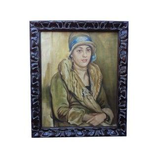 1920s Flapper Girl Oil Painting