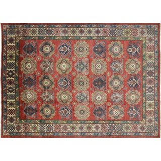 "Kazak Hand Knotted Red Area Rug- 8' 0"" X 11' 1"""