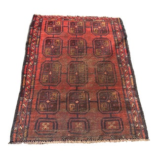 "Vintage Distressed Kourdish Small Area Rug- 2'9"" x 4'1"""