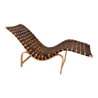 Danish Modern Chaise Lounge by Bruno Mathsson Leather & Birch