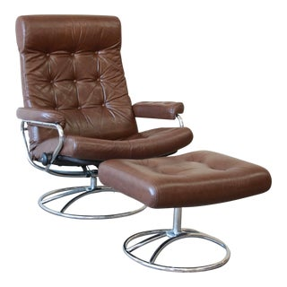 Vintage Brown Leather Ekornes Stressless Lounge Chair with Ottoman