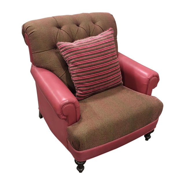 Pink Leather Club Chair - Image 1 of 7
