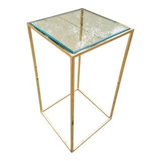 Milo Baughman Style Brass & Glass Pedestal Art Stand