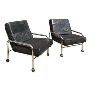 Mid-Century Chrome & Leather Chairs - A Pair