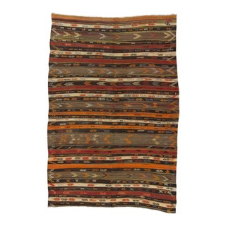 Vintage Handwoven Embroidered Striped Decorative Turkish Kilim Rug