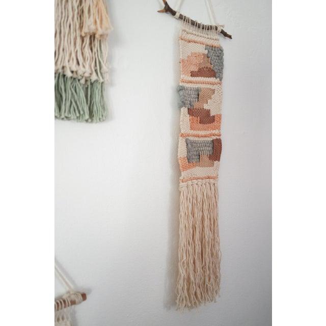 Handwoven Metallic Rose Gold, Grey, & Brown Wall Hanging - Image 3 of 4