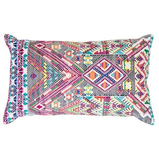 Colorful Red Handwoven Guatemalan Pillow