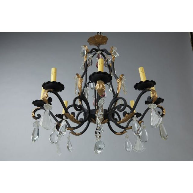 French Eight Light Iron Gilt & Crystal Chandelier - Image 3 of 6