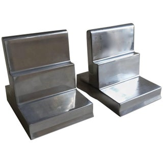 Polished Aluminium Bookends - Pair