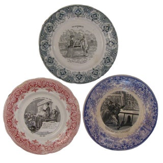 Antique French Transferware Plates - Set of 3