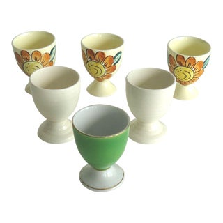 Floral Painted Egg Cups - Set of 6