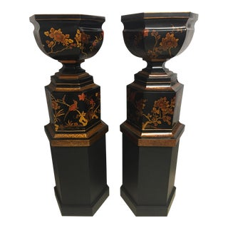 Grand Scale Vintage Maitland-Smith Wooden Urns - A Pair