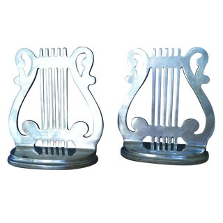 Vintage Musical Lyre Brass Bookends