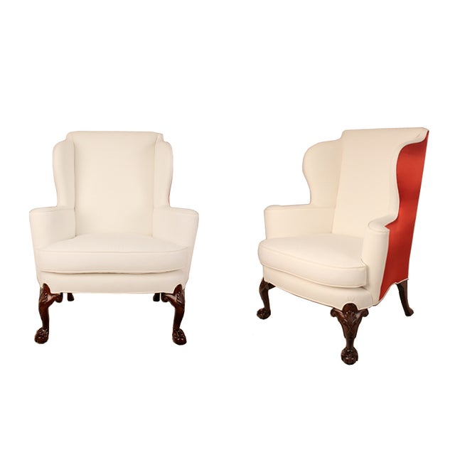 Thomas Chippendale English Wing Chairs - Pair - Image 1 of 3