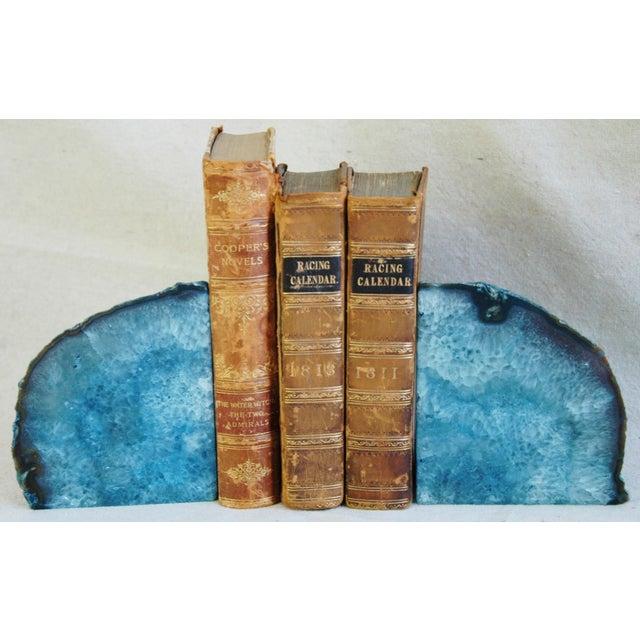 Image of Deep Blue Polished Crystal Rock Geode Bookends