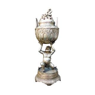 Tibetan Silver Metal Lohan Incense Burner