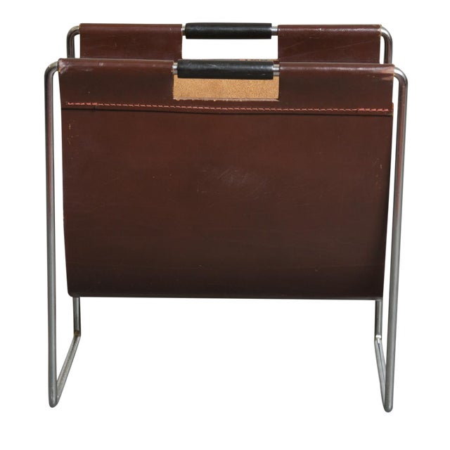 Mid-Century Leather and Chrome Magazine Stand - Image 1 of 9