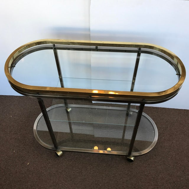 Mid-Century Modern Chrome & Brass Bar Cart - Image 3 of 5
