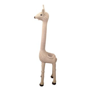 Vintage Wicker Giraffe Planter Animal Statue