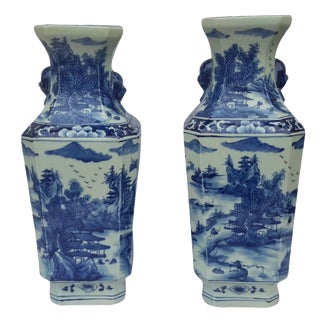 Chinese Hand Painted Vases - A Pair
