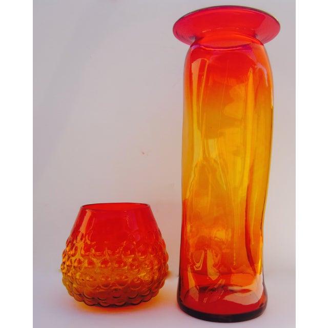 Image of Blenko Bubble Glass Amberina Sandblasted Sig Vase