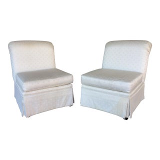 J. Royale Regency Armless White Slipper Chairs - A Pair